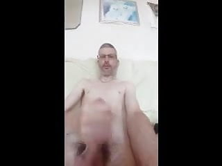 Skinny white guy wanking his thin cock and eating cum