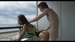 Hot British Girl Balcony Fuck- Onepiece Swimsuit- Huge Cock
