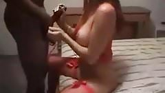 white wife red dress black cock
