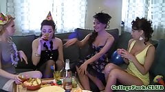 Euro freshmen babes lingerie toy sex party