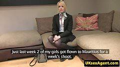 Stockinged british amateur in sex audition