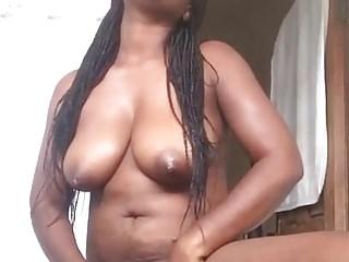 My African girlfriend masturbates for me part 1