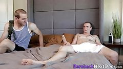 Gay stuffs his ass with dildo when his buddy walks on him