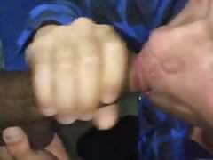 Sucking a black cock until he shoot his load