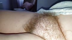 playing with her ripe nipple, expose her hairy pussy