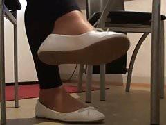Stepsister in white ballerinas, nylons and black leggings