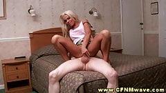 CFNM blonde fucks her horny stud in her bedroom