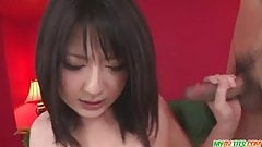 Megumi Haruka gives a cute asian blowjob and is creampied