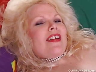 Cute chubby mature blonde has nice big tits and a fat juicy
