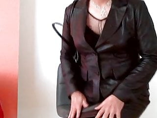 Preview 2 of Coming home in leather suit from office