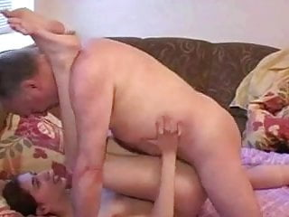 Petite woman plays with elder man (2)
