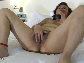 Old chubby slut grandma loves to play on her bed