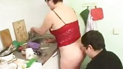 chubby couple fucking in the kitchen