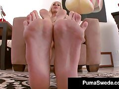 Swedish Blonde Puma Swede Teases Barefoot & with Stockings!