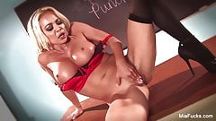 Hot Blonde Asian, Mia fingers pussy on teacher's desk