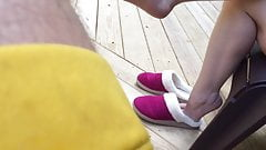 Cute feet out of slippers