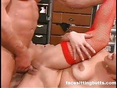 Horny big tit Asian chick has a deep throat