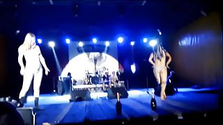 Two amateur girls strip naked on stage