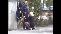 Russian blond whore suck outdoor
