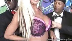 Busty mature slut Jordan Blue at interracial bukkake