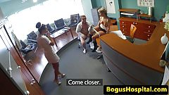 Nurse and doctor in menage a trois