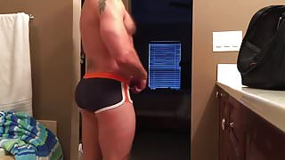 Silverdaddy wanks and cum in his bathroom