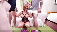 Blow Me POV - Lauren Phillips & Big Boobed Sluts Blow Dicks