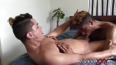 Naughty black twink is eager to suck that juicy white boner