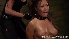 Asian Mena Li ravaged by well equipped domina in threeway