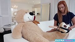Young redhead Kadence Marie rides her boyfriends stiff dick