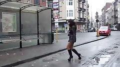 walking in mini skirt