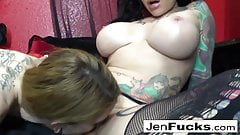 Two sexy tattooed models fuck each other with toys
