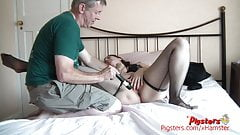 Curvy Babe and Old Cameraman Exchange Pleasure