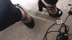 Playing with heels in the office