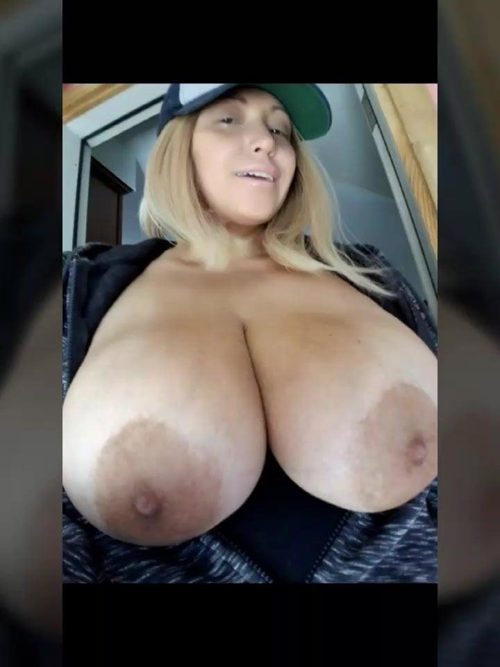 Huge breast selfie