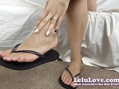 Sliding my bare natural nails and feet in and out of flip fl