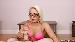 Blonde teen POV handjob