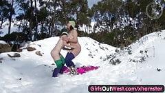 Young amateur lesbians on snow