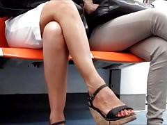 Candid Milf with Sexy Crossed Legs on Subway