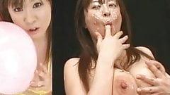 Busty Nana Aoyama - Split Screen Bukkake