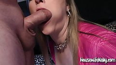 Housewife Kelly sucking dick in a Hot Pink Dress