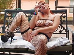 Rebel smoking pussy play JOI in fishnets and heels