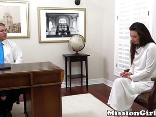 Innocent Mormon lady voluntarily strips before being pounded
