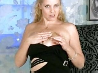 Busty milf in lingerie rubbing for orgasm