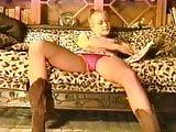 80s blonde in pink satin panties