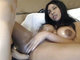 Hot Girl With Huge Tits Fucks Dildo