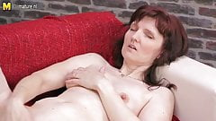 Amateur real mom fingering on the couch