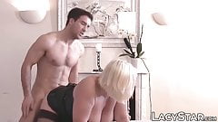 Busty GILF Lacey Starr double penetrated in big cock 3way