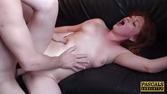 Raunchy subslut Princess Paris slurps cum after rough plow's Thumb