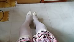 White Patent Pumps with Pantyhose Teaser